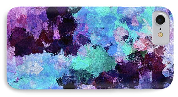 Purple And Blue Abstract Art IPhone Case by Ayse Deniz