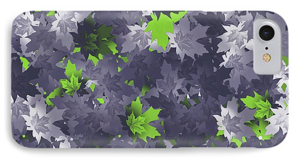 Purple And Green Leaves IPhone Case by Methune Hively