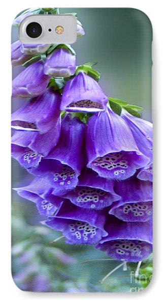 Purple Bell Flowers Foxglove Flowering Stalk IPhone Case by Carol F Austin