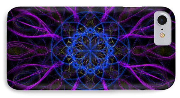 IPhone Case featuring the photograph Purple Blue Kaleidoscope Square by Adam Romanowicz