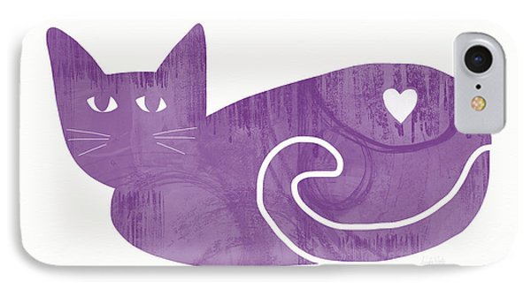 Purple Cat- Art By Linda Woods IPhone Case