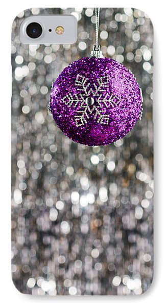 IPhone Case featuring the photograph Purple Christmas Bauble  by Ulrich Schade