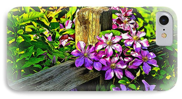 IPhone Case featuring the digital art Purple Clematis On Split Rail Fence by Dennis Lundell