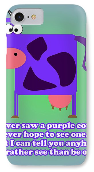 Purple Cow IPhone Case by Anthony Caruso