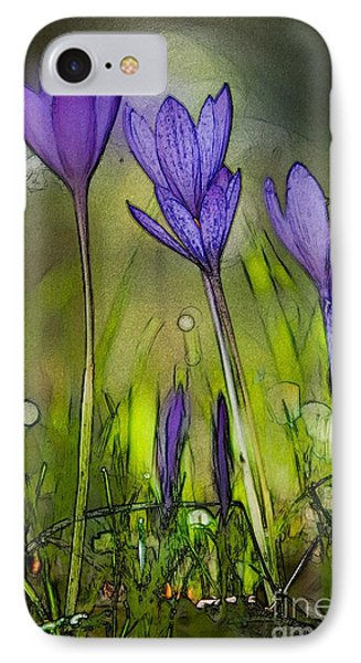 IPhone Case featuring the photograph Purple Crocus Flowers by Jean Bernard Roussilhe