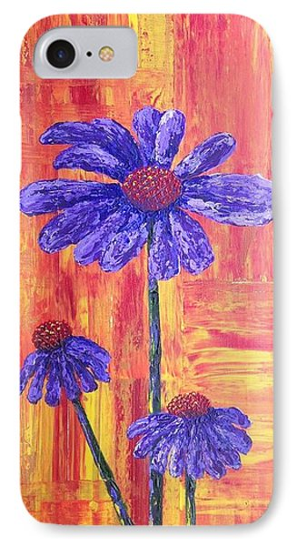 Purple Daisy IPhone Case by T Fry-Green