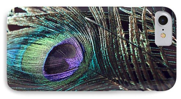 Purple Feather With Dark Background IPhone Case by Angela Murdock