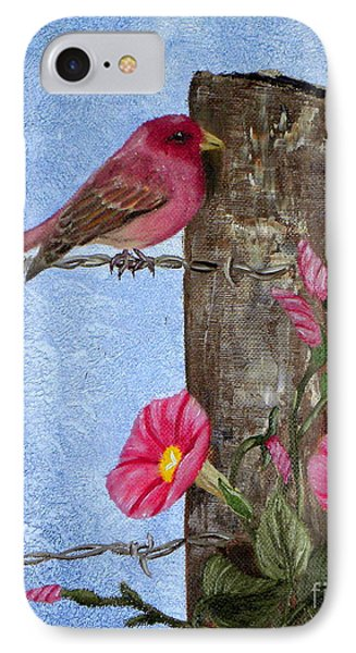 Purple Finch And Morning Glories IPhone Case by Terri Mills