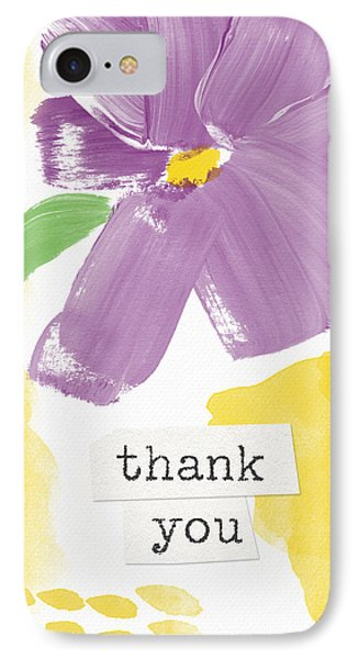 Purple Flower Thank You Card- Art By Linda Woods IPhone Case by Linda Woods