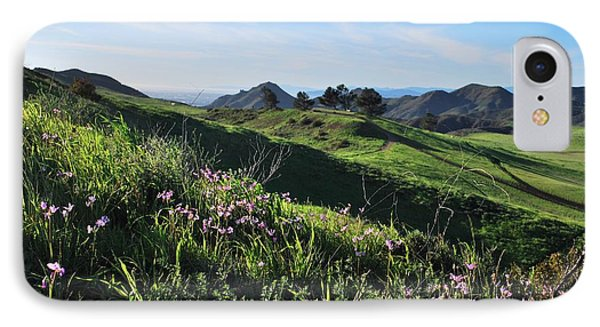 IPhone Case featuring the photograph Purple Flowers And Green Hills Landscape by Matt Harang