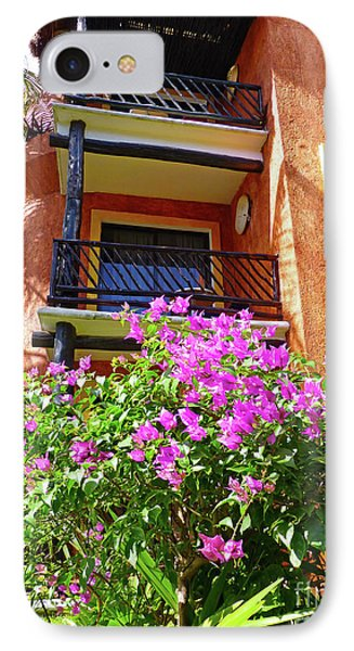 IPhone Case featuring the photograph Purple Flowers By The Balcony by Francesca Mackenney