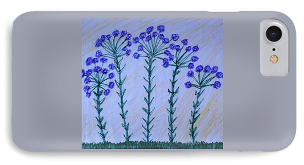Purple Flowers On Long Stems IPhone Case