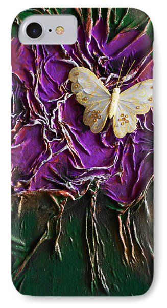 Purple Fowers With Butterfly IPhone Case by Angela Stout