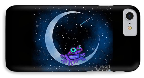 IPhone Case featuring the painting Purple Frog On A Crescent Moon by Nick Gustafson
