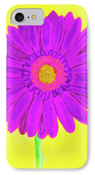 Purple  Gerbera On Yellow, Watercolor IPhone Case