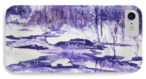 IPhone Case featuring the painting Purple Ice On Kaaterskill Creek by Ellen Levinson