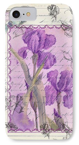 IPhone Case featuring the drawing Purple Iris by Cathie Richardson