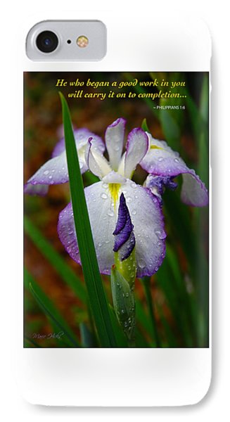 Purple Iris In Morning Dew IPhone Case by Marie Hicks