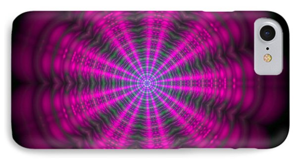 IPhone Case featuring the digital art Purple Lightmandala Ripples by Robert Thalmeier