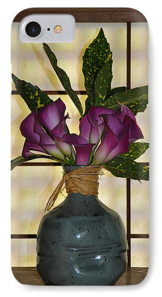 Purple Lilies In Japanese Vase Phone Case by Bill Cannon