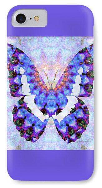 Purple Mandala Butterfly Art By Sharon Cummings IPhone Case by Sharon Cummings