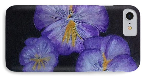 IPhone Case featuring the painting Purple Pansies by Rod Jellison