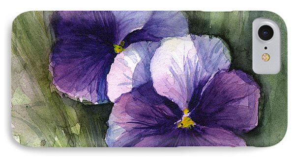 Purple Pansies Watercolor IPhone Case by Olga Shvartsur