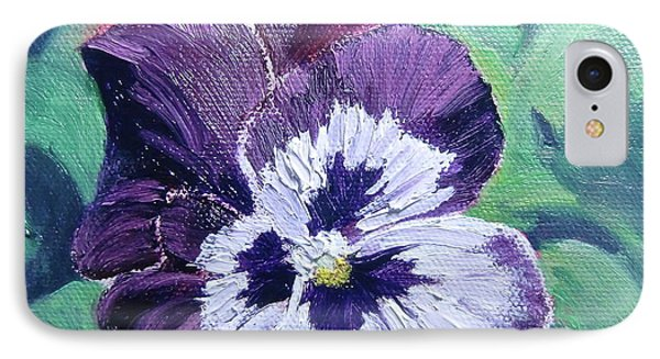 IPhone Case featuring the painting Purple Pansy by Bonnie Heather