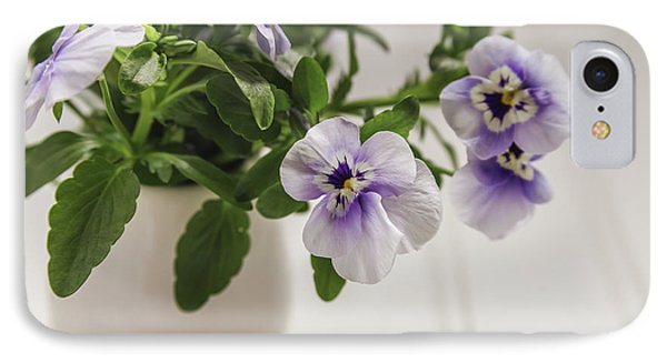 IPhone Case featuring the photograph Purple Pansy Flowers by Kim Hojnacki