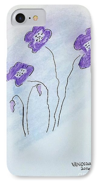 Purple Pastel Minimal Flowers IPhone Case