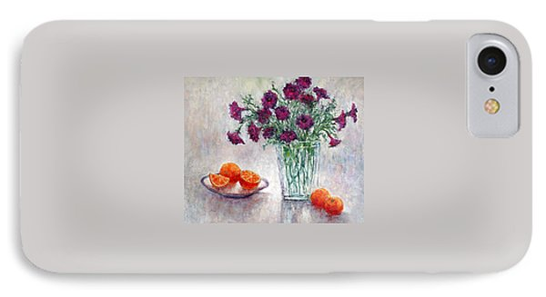 Purple Petunias And Oranges IPhone Case