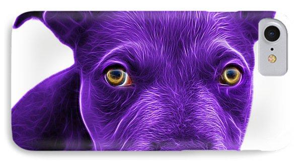 Purple Pitbull Puppy Pop Art - 7085 Wb Phone Case by James Ahn