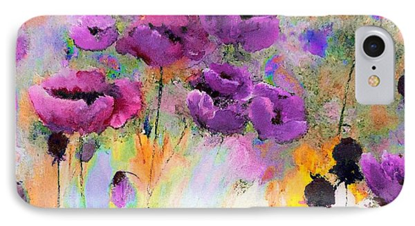 Purple Poppy Passion Painting IPhone Case by Lisa Kaiser