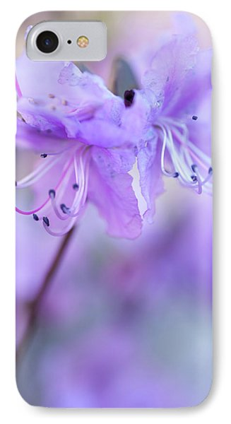 IPhone Case featuring the photograph Purple Rhododendron. Spring Watercolors by Jenny Rainbow