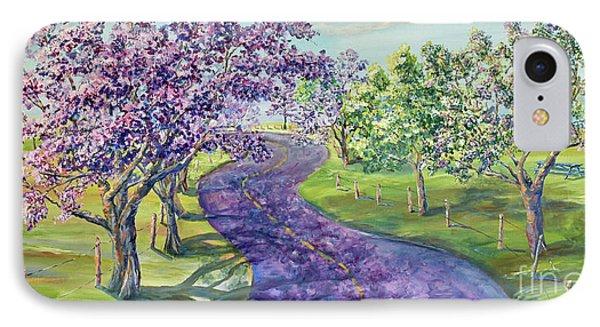 Purple Road - Springtime IPhone Case by Malanda Warner