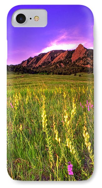 Purple Skies And Wildflowers IPhone Case by Scott Mahon