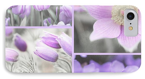 IPhone Case featuring the photograph Purple Spring Bloom Collage. Shabby Chic Collection by Jenny Rainbow