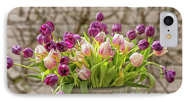 IPhone Case featuring the photograph Purple Tulips In A Bucket by Patricia Hofmeester