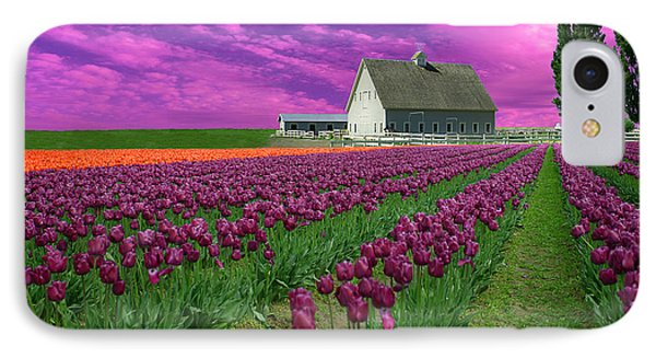 Purple Tulips With Pink Sky IPhone Case