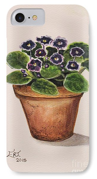 IPhone Case featuring the painting Purple Violets by Elizabeth Robinette Tyndall