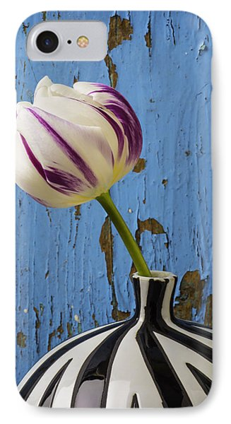 Purple White Tulip Against Blue Wall IPhone Case by Garry Gay