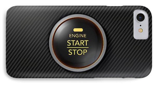 Push To Start Carbon Fibre Button IPhone Case by Allan Swart