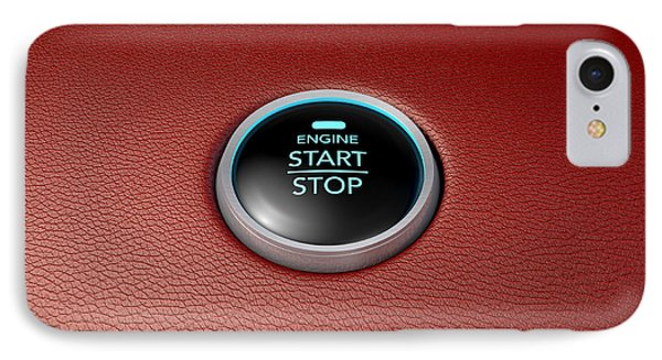 Push To Start Red Leather Button IPhone Case