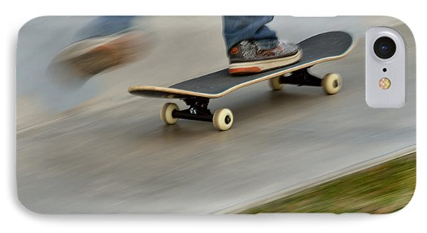 Pushing Off On A Skateboard IPhone Case by Kae Cheatham