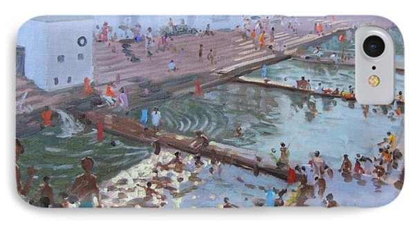 Pushkar Ghats Rajasthan IPhone Case by Andrew Macara