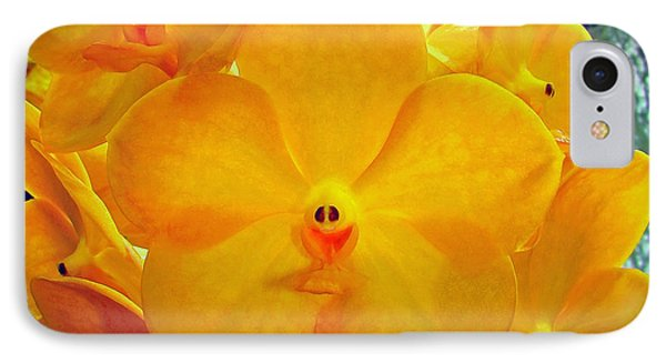 Put On A Happy Face Yellow Orchids Phone Case by Sue Melvin