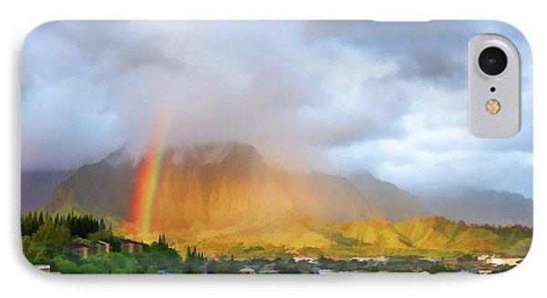 Puu Alii With Rainbow IPhone Case by Dan McManus