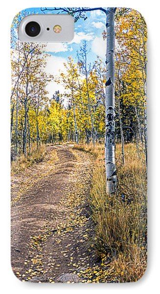 Aspens In Fall With Road IPhone Case by John Brink