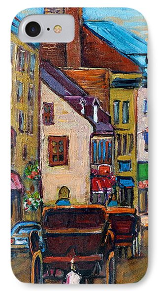 Quebec City Street Scene  Caleche Ride IPhone Case by Carole Spandau