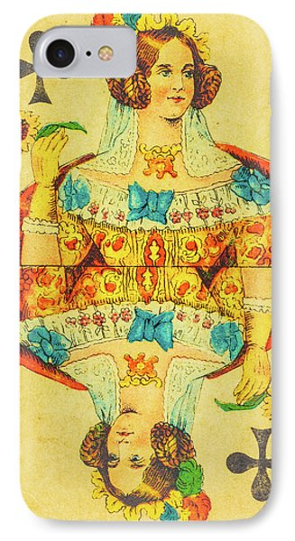 Queen Of Clubs IPhone Case by Martin Bergsma